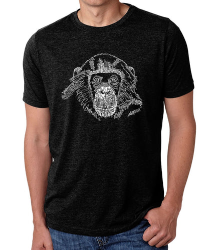 LA Pop Art Men's Premium Blend Word Art T-shirt - Chimpanzee