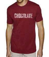 Load image into Gallery viewer, LA Pop Art Men's Premium Blend Word Art T-shirt - Different foods made with chocolate