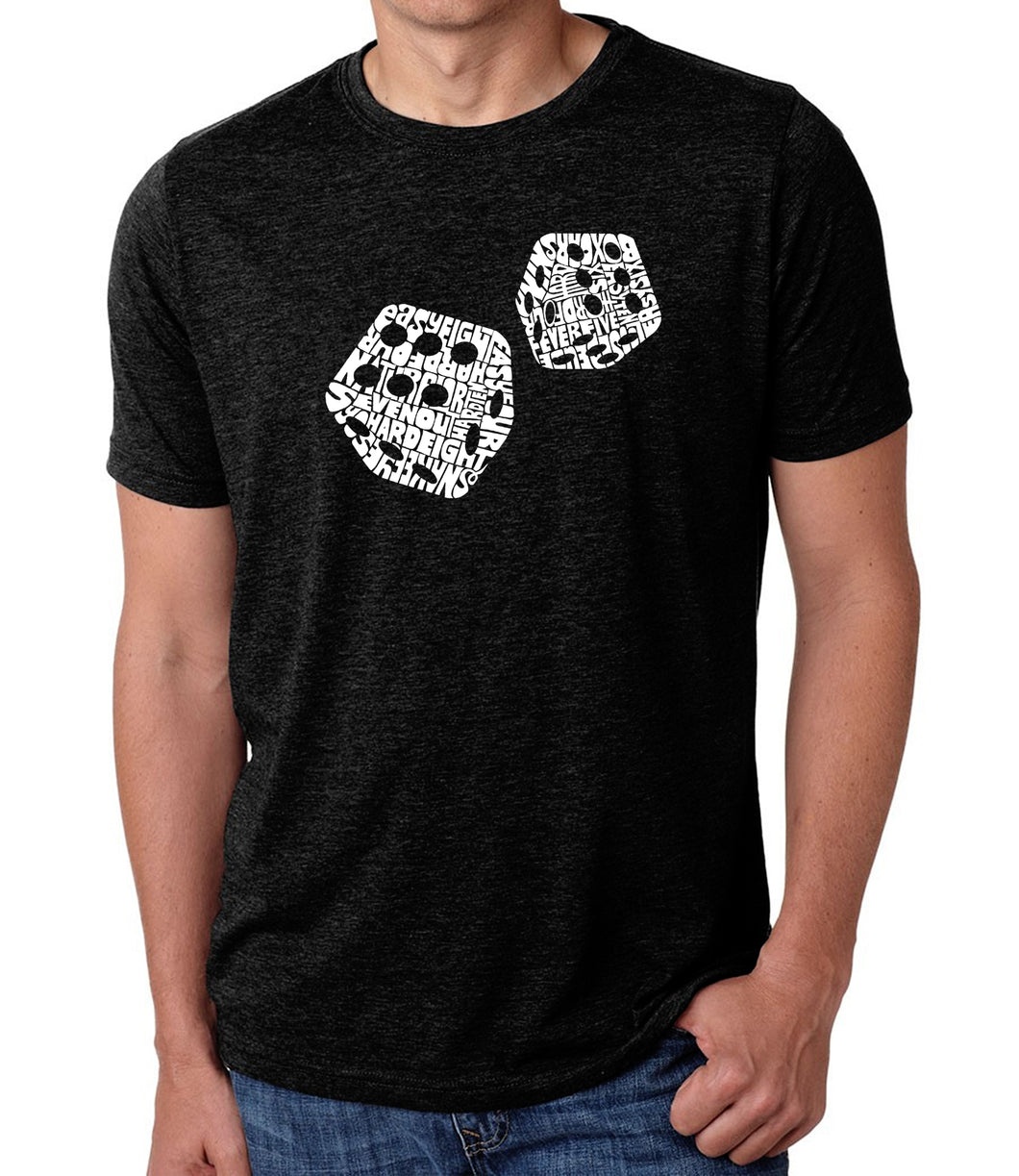 LA Pop Art Men's Premium Blend Word Art T-shirt - DIFFERENT ROLLS THROWN IN THE GAME OF CRAPS