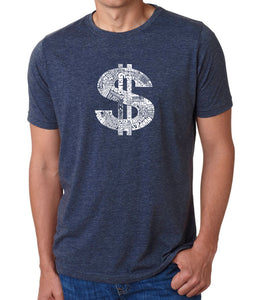 LA Pop Art Men's Premium Blend Word Art T-shirt - Dollar Sign