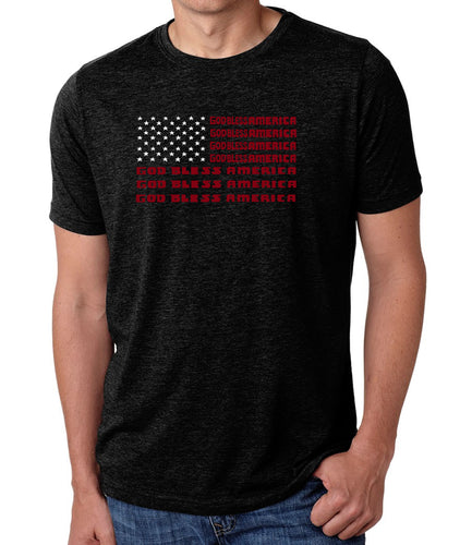 LA Pop Art Men's Premium Blend Word Art T-shirt - God Bless America