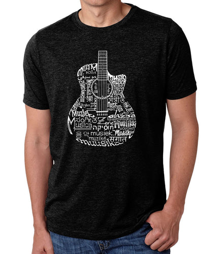 LA Pop Art Men's Premium Blend Word Art T-shirt - Languages Guitar