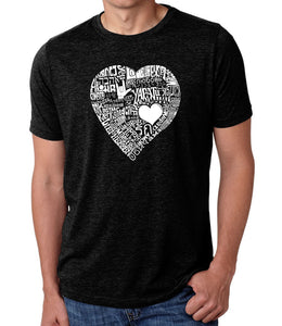 LA Pop Art Men's Premium Blend Word Art T-shirt - LOVE IN 44 DIFFERENT LANGUAGES