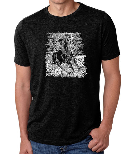 LA Pop Art Men's Premium Blend Word Art T-shirt - POPULAR HORSE BREEDS