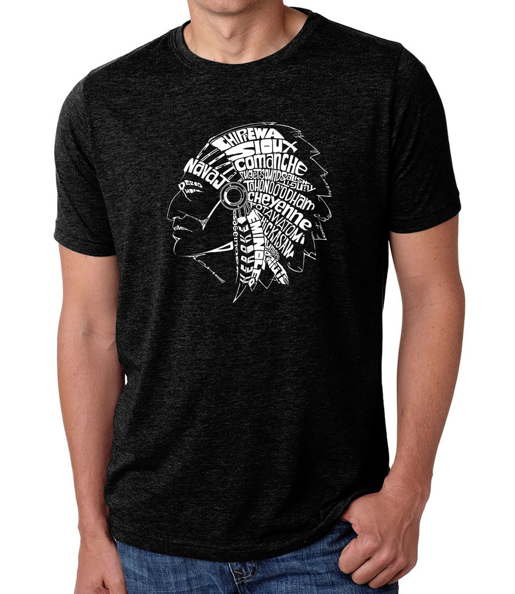 LA Pop Art Men's Premium Blend Word Art T-shirt - POPULAR NATIVE AMERICAN INDIAN TRIBES