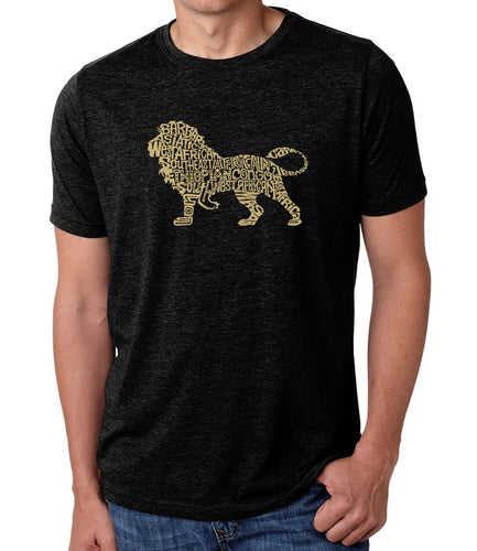 LA Pop Art Men's Premium Blend Word Art T-shirt - Lion