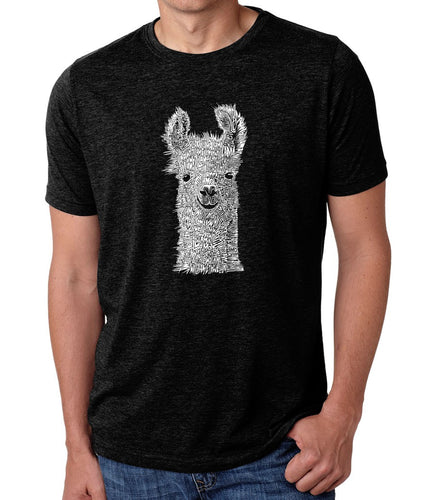 LA Pop Art Men's Premium Blend Word Art T-shirt - Llama