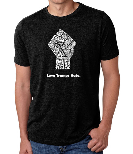 LA Pop Art Men's Premium Blend Word Art T-shirt - Love Trumps Hate Fist