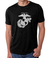 Load image into Gallery viewer, LA Pop Art Men's Premium Blend Word Art T-shirt - LYRICS TO THE MARINES HYMN