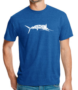LA Pop Art Men's Premium Blend Word Art T-shirt - Marlin - Gone Fishing