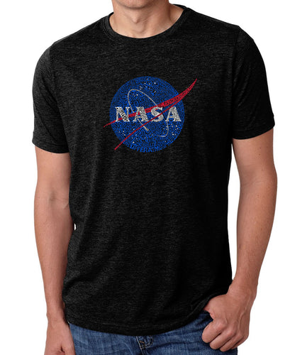 LA Pop Art Men's Premium Blend Word Art T-shirt - NASA's Most Notable Missions