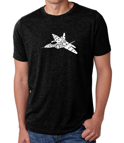 LA Pop Art Men's Premium Blend Word Art T-shirt - FIGHTER JET - NEED FOR SPEED