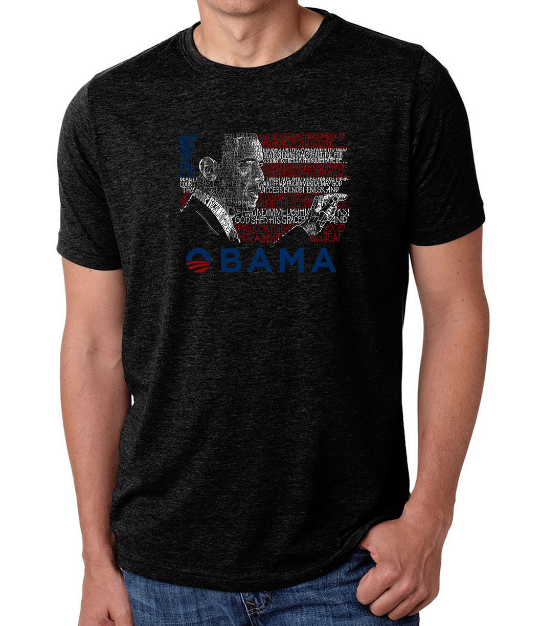 LA Pop Art Men's Premium Blend Word Art T-shirt - BARACK OBAMA - ALL LYRICS TO AMERICA THE BEAUTIFUL
