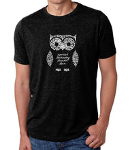 Load image into Gallery viewer, LA Pop Art Men's Premium Blend Word Art T-shirt - Owl
