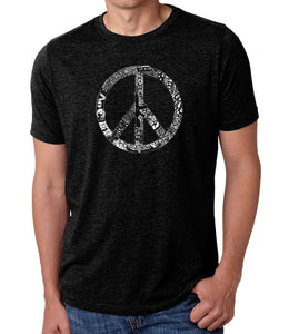 LA Pop Art Men's Premium Blend Word Art T-shirt - PEACE, LOVE, & MUSIC