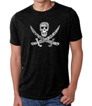 Load image into Gallery viewer, LA Pop Art Men's Premium Blend Word Art T-shirt - PIRATE CAPTAINS, SHIPS AND IMAGERY