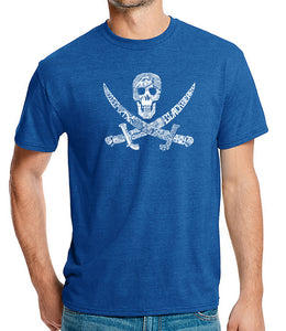 LA Pop Art Men's Premium Blend Word Art T-shirt - PIRATE CAPTAINS, SHIPS AND IMAGERY