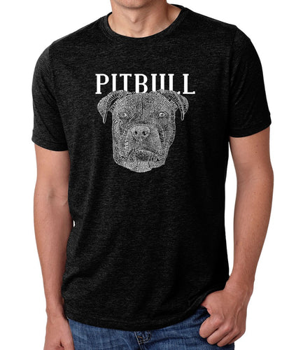 LA Pop Art Men's Premium Blend Word Art T-shirt - Pitbull Face