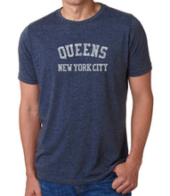Load image into Gallery viewer, LA Pop Art Men's Premium Blend Word Art T-shirt - POPULAR NEIGHBORHOODS IN QUEENS, NY