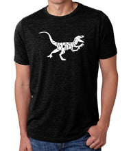 Load image into Gallery viewer, LA Pop Art Men's Premium Blend Word Art T-shirt - Velociraptor