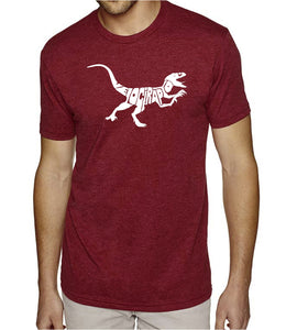 LA Pop Art Men's Premium Blend Word Art T-shirt - Velociraptor