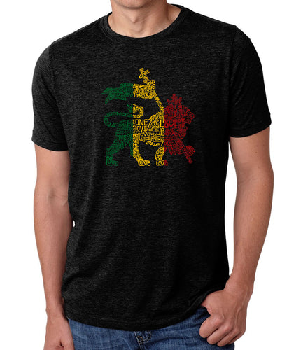 LA Pop Art Men's Premium Blend Word Art T-shirt - Rasta Lion - One Love