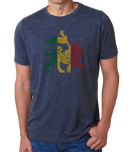 Load image into Gallery viewer, LA Pop Art Men's Premium Blend Word Art T-shirt - Rasta Lion - One Love