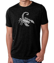 Load image into Gallery viewer, LA Pop Art Men's Premium Blend Word Art T-shirt - Types of Scorpions