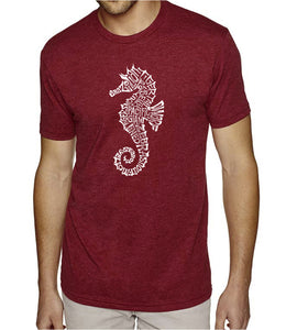 LA Pop Art Men's Premium Blend Word Art T-shirt - Types of Seahorse