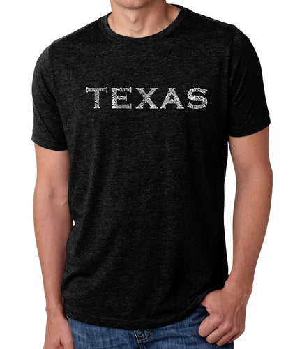 LA Pop Art Men's Premium Blend Word Art T-shirt - THE GREAT CITIES OF TEXAS