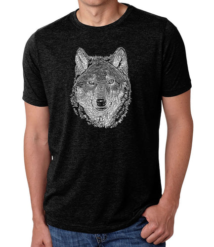 LA Pop Art Men's Premium Blend Word Art T-shirt - Wolf