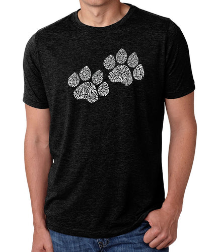 LA Pop Art Men's Premium Blend Word Art T-shirt - Woof Paw Prints