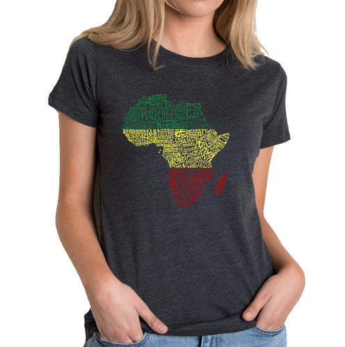 LA Pop Art Women's Premium Blend Word Art T-shirt - Countries in Africa