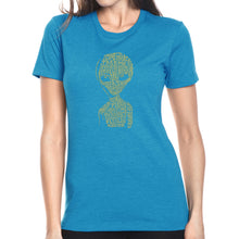 Load image into Gallery viewer, LA Pop Art Women's Premium Blend Word Art T-shirt - Alien