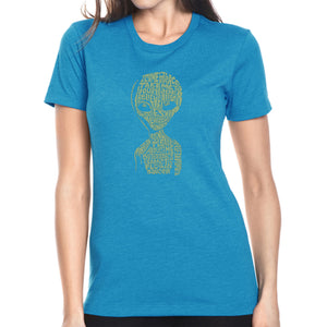 LA Pop Art Women's Premium Blend Word Art T-shirt - Alien