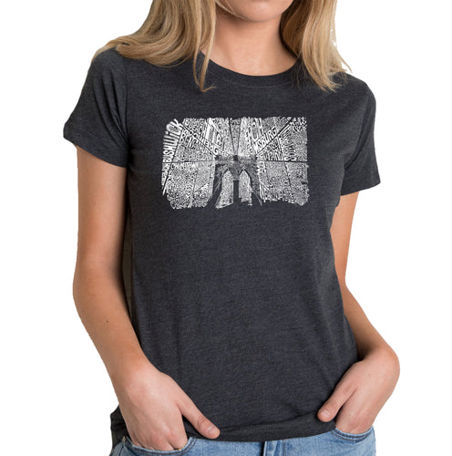 LA Pop Art Women's Premium Blend Word Art T-shirt - Brooklyn Bridge