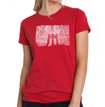 Load image into Gallery viewer, LA Pop Art Women's Premium Blend Word Art T-shirt - Brooklyn Bridge