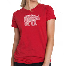 Load image into Gallery viewer, LA Pop Art Women's Premium Blend Word Art T-shirt - Bear Species
