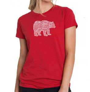 LA Pop Art Women's Premium Blend Word Art T-shirt - Bear Species