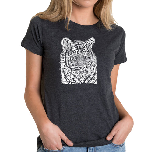 LA Pop Art Women's Premium Blend Word Art T-shirt - Big Cats