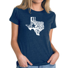 Load image into Gallery viewer, LA Pop Art Women's Premium Blend Word Art T-shirt - Everything is Bigger in Texas