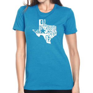 LA Pop Art Women's Premium Blend Word Art T-shirt - Everything is Bigger in Texas