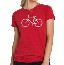 Load image into Gallery viewer, LA Pop Art Women's Premium Blend Word Art T-shirt - SAVE A PLANET, RIDE A BIKE