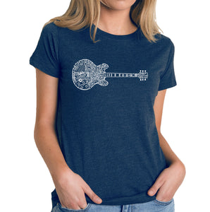 LA Pop Art Women's Premium Blend Word Art T-shirt - Blues Legends