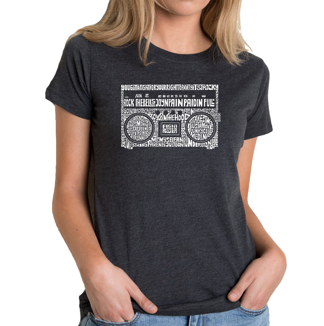 LA Pop Art Women's Premium Blend Word Art T-shirt - Greatest Rap Hits of The 1980's