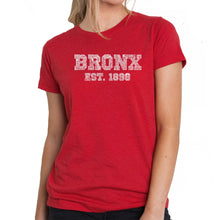 Load image into Gallery viewer, LA Pop Art Women's Premium Blend Word Art T-shirt - POPULAR NEIGHBORHOODS IN BRONX, NY