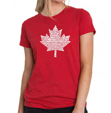 Load image into Gallery viewer, LA Pop Art Women's Premium Blend Word Art T-shirt - CANADIAN NATIONAL ANTHEM