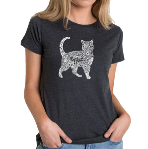 LA Pop Art Women's Premium Blend Word Art T-shirt - Cat