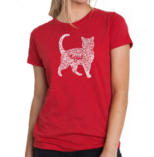 Load image into Gallery viewer, LA Pop Art Women's Premium Blend Word Art T-shirt - Cat