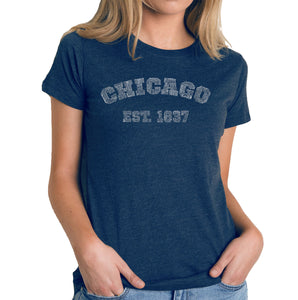 LA Pop Art Women's Premium Blend Word Art T-shirt - Chicago 1837